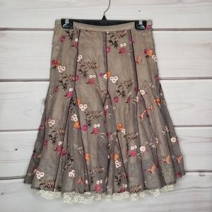 [anthro] Lithe Layered Floral Skirt Size 2